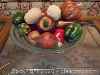Large Bowl of Faux Fruit and Vegetables