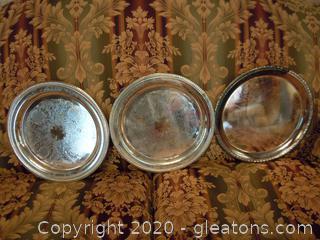 3 Round Silverplate Trays