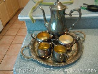 Silverplate on Copper Tea Service and Tray