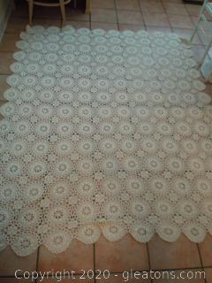 Vintage Hand Made Crocheted Table Cloth