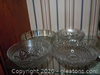 4 round Depression Glass Candy, Dip, Servers