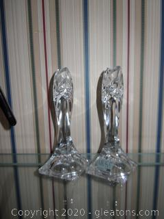 2 Mikasa Crystal Candle Holders