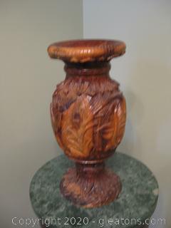 Vintage Olive Wood Hand Carved Urn