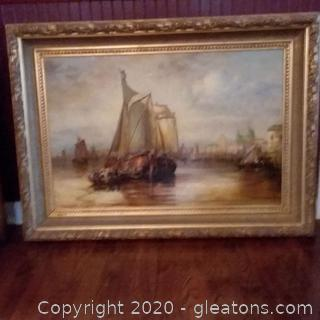 Oil/Print on Canvas of Sailboats in a Harbor