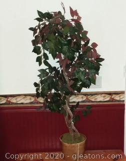 Silk Ficus Tree in a Gold Pot