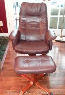 Brown Leather Swivel Chair –With Ottoman