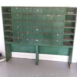 Vintage Wooden Storage Cabinet With 42 Individual Units