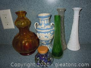 5 Heavy Older Vases-Some Vintage ,Collectible