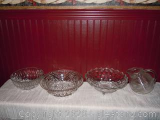 Beautiful Vintage Clear Serving Bowls and Anchor Hocking Tilt Ball Pitcher