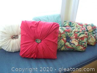 5 Hand Covered Throw Pillows