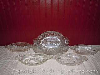 6 Serving Dishes –All Varied Pattern Crystal