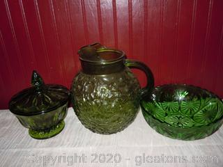 3 pc. Varied Green Depression Glass