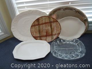 Lot of Oval family Size Serving Trays