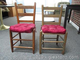 Set of 2 Ladder Back Dining Chairs