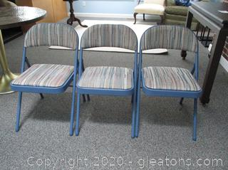 Metal Folding Chairs with Upholstery (3)