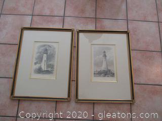Pair of Minot's Ledge Lighthouse Prints (2)