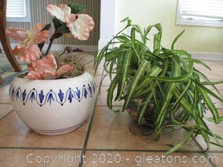 2 Silk Plants in Ceramic Planters