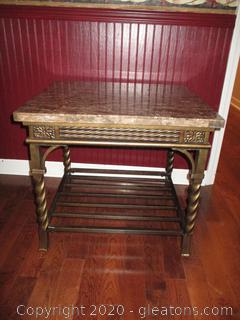 Metal End Table with Stone Marble-Look Top (Matches 8435)