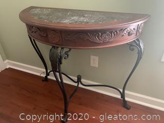 Half Moon Side Table W/Stone Top