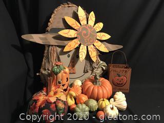 Fall Fun, pumpkins and a scarecrow