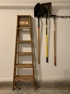 Collection of Yard Tools and Ladder