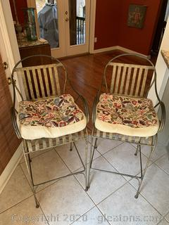 Pair of Iron Bar Stools