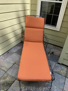 Rolling Wrought Iron Patio Lounger and Table