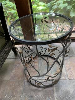 Iron Glass Top Accent Table