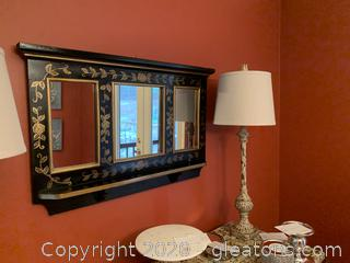 Decorative Wall Shelf with Mirrors