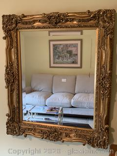 Large Gold Colored Decorative Wall Mirror