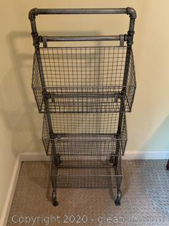 Industrial Style Wire Filing Cabinet