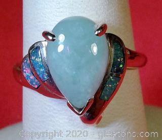 Lady's Jade and Inlay Opal Ring APPRAISED