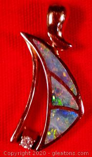 LADY'S 14K, YELLOW GOLD, OPAL INLAY PENDANT APPRAISED