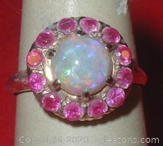 LADY'S OPAL AND RUBY RING 14k Yellow Gold APPRAISED