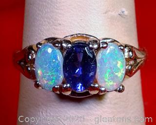 LADY'S OPAL AND TANZANITE RING. 14k Yellow Gold APPRAISED