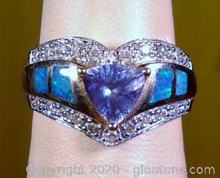LADY'S OPAL TANZANITE DIAMOND  RING 14k Yellow Gold APPRAISED Size 6