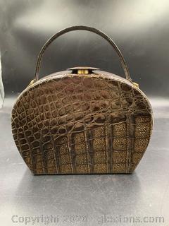 Mark Cross Alligator and Leather Handbag