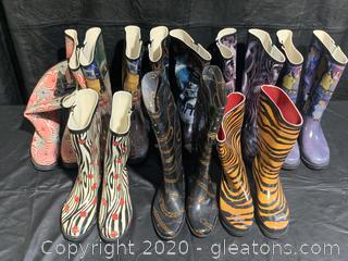 Lot of Stylish Rain Boots (7 Pairs)