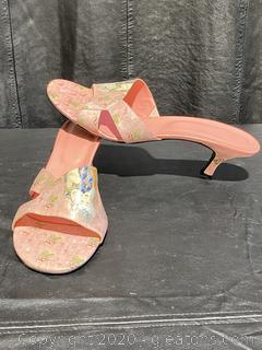 Jeon Art Graphic Slip-On Open Toe Heels