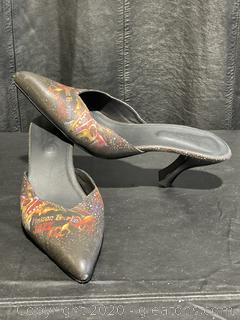 Jeon Art Graphic New Orleans Style Slip-On Heels