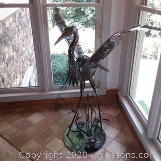 Stunning Hand-crafted Metal Heron Statue