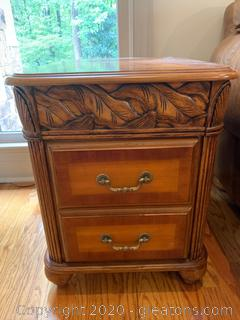Wooden Accent Table with Drawers