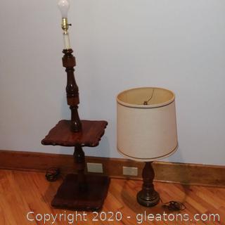 Pair of Vintage Wooden Lamps- 1 Floor, 1 Table
