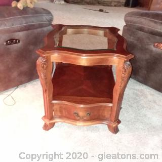 2 Tier Accent Table with Bottom Drawer