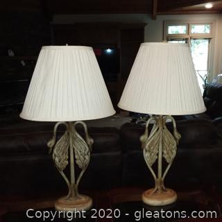 Pair of Double Swan Base Table Lamp with Shades