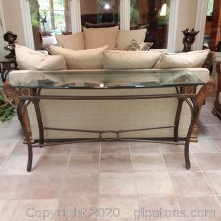 Metal Base Sofa/Foyer Table with Beveled Glass Top-Matches 5211, 5212, 5214