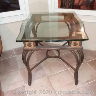 Metal Base End Table with Wood (A) Accents and Beveled Glass Top