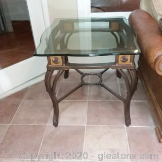 Metal Base End Table with Wood Accents and Beveled Glass Top (B)