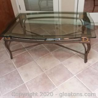 Metal Base Coffee Table with Beveled Edge  Glass Top (Matches 5211, 5212, 5213)