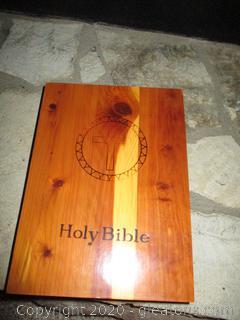 Holy Bible Light of The World Catholic Edition with Cedar Wood Box